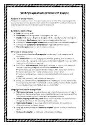 English Worksheet: persuasive writing guide (exposition)