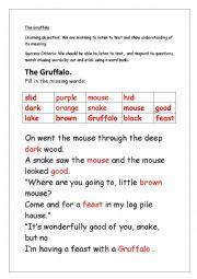 English Worksheet: The Gruffalo