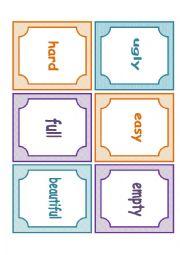 English Worksheet: Memory game (adjectives)