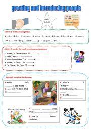 English Worksheet: greetings and meeting people