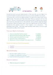 English Worksheet: At the hospital comprehension
