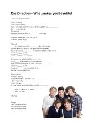 English Worksheet: What makes you beautiful - One Direction