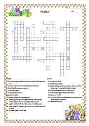 English Worksheet: Family Crossword Activity