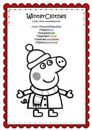 English Worksheet: Peppa Pig Winter Clothes