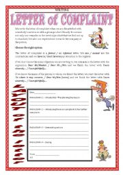 English Worksheet: WRITING - letter of complaint part 1