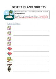 English Worksheet: Desert Island Objects