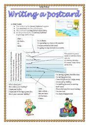 English Worksheet: WRITING - postcard