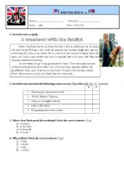 English Worksheet: Test Paper Unit  1 Grade 6th
