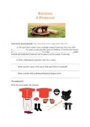 English Worksheet: Baseball / A webquest