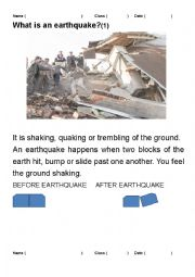 English Worksheet: What do you know about earthquakes?