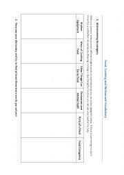 English Worksheet: Food, Cooking and Restaurant Vocabulary