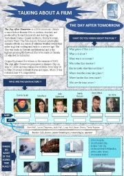 English Worksheet: TALKING ABOUT A FILM: The Day After Tomorrow