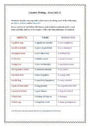 English Worksheet: Creative Writing � Story Cards #1