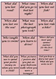 Past Simple - Conversation cards