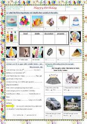 English Worksheet: happy birthday 7th form