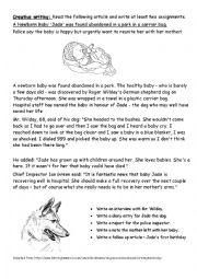 English Worksheet: A Newborn Baby
