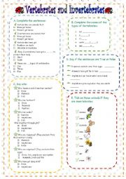 photo relating to Free Printable Worksheets on Vertebrates and Invertebrates referred to as Invertebrates worksheets