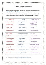 English Worksheet: Creative Writing � Story Cards #3