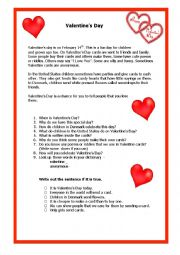 English Worksheet: Valentine´s Day Comprehension