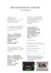 English Worksheet: COLDPLAY Adventure of a lifetime