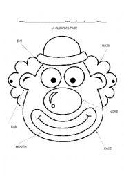 English Worksheet: A clown�s face