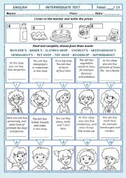 English Worksheet: TEST: Price and Shops