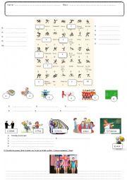 English Worksheet: Sports test vocabulary and writing