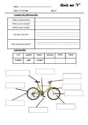 English Worksheet: bicycle and wheels