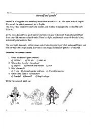 English Worksheet: Beowulf and Grendel