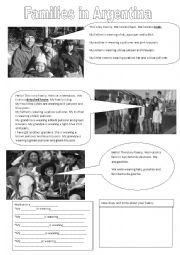 English Worksheet: Families in Argentina
