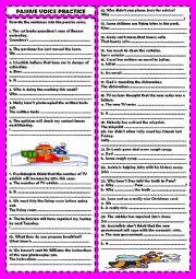 English Worksheet: Pasive voice practice: rephrasing (+ key)