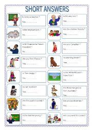 English Worksheet: Short answers- Be