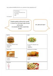English Worksheet: describing food for partner to guess