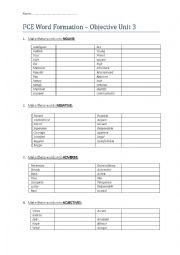 English Worksheet: Word formation First Certificate