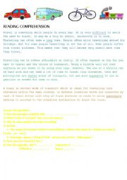 english worksheets reading comprehension transportation. Black Bedroom Furniture Sets. Home Design Ideas