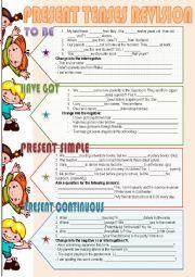 English Worksheet: Present Tenses Revision
