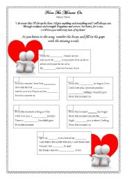 English Worksheet: SONG ACTIVITY - FROM THIS MOMENT - SHANIA TWAIN