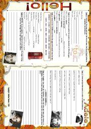 English Worksheet: SONG WORKSHEET - HELLO - ADELE