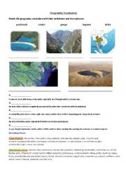 English Worksheet: Geographical Features