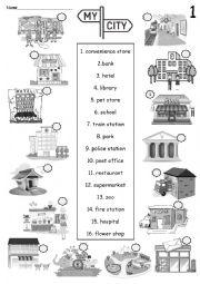 English Worksheet: My City - No. 1 Building names