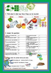 English Worksheet: REDUCE,REUSE,RECYCLE