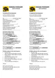English Worksheet: Banana Pancakes song activity