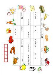 English Worksheet: FOOD GAME