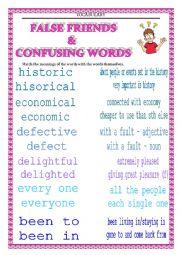 English Worksheet: VOCABULARY - confusing words & false friends