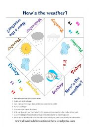 English Worksheet: Weather & days of the week fortune teller - cootie catcher