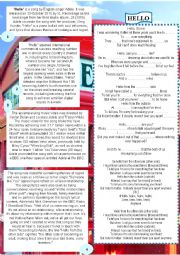 English Worksheet: HELLO Adele