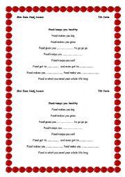 English Worksheet: lyrics of the song food keeps you healthy