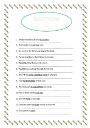 English Worksheet: MAKING QUESTIONS