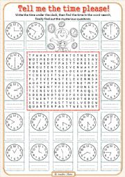 English Worksheet: Funny time... word-search!