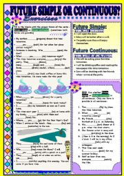 English Worksheet: FUTURE SIMPLE or CONTINUOUS? Exercises and short explanations